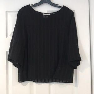 Anthropologie HD black top with flare 3/4 sleeves